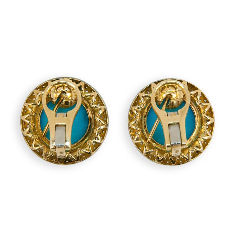 Laura Munder Turquoise Diamond Blackened Yellow Gold Earrings In Excellent Condition For Sale In West Palm Beach, FL