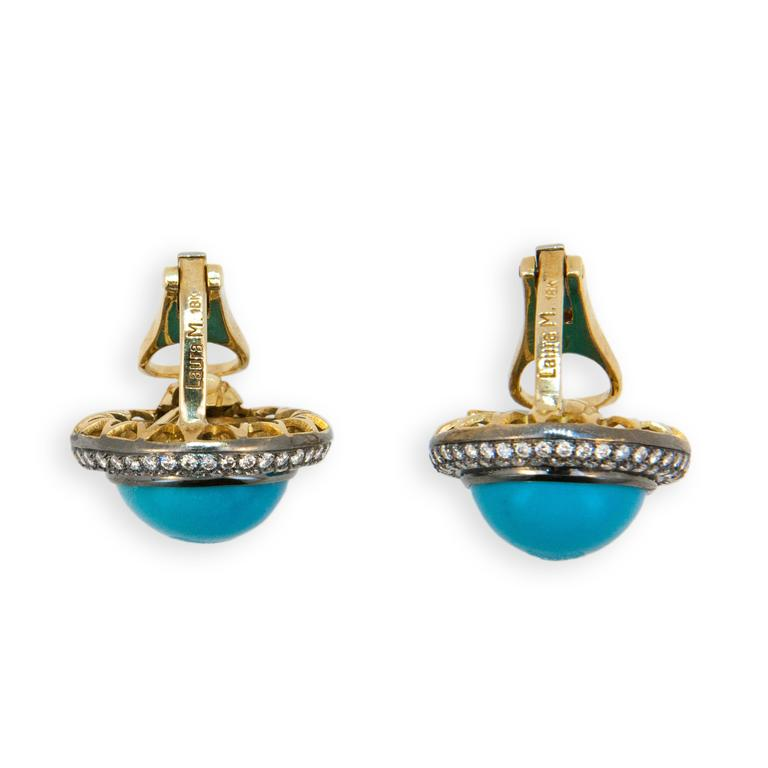 Women's Laura Munder Turquoise Diamond Blackened Yellow Gold Earrings For Sale
