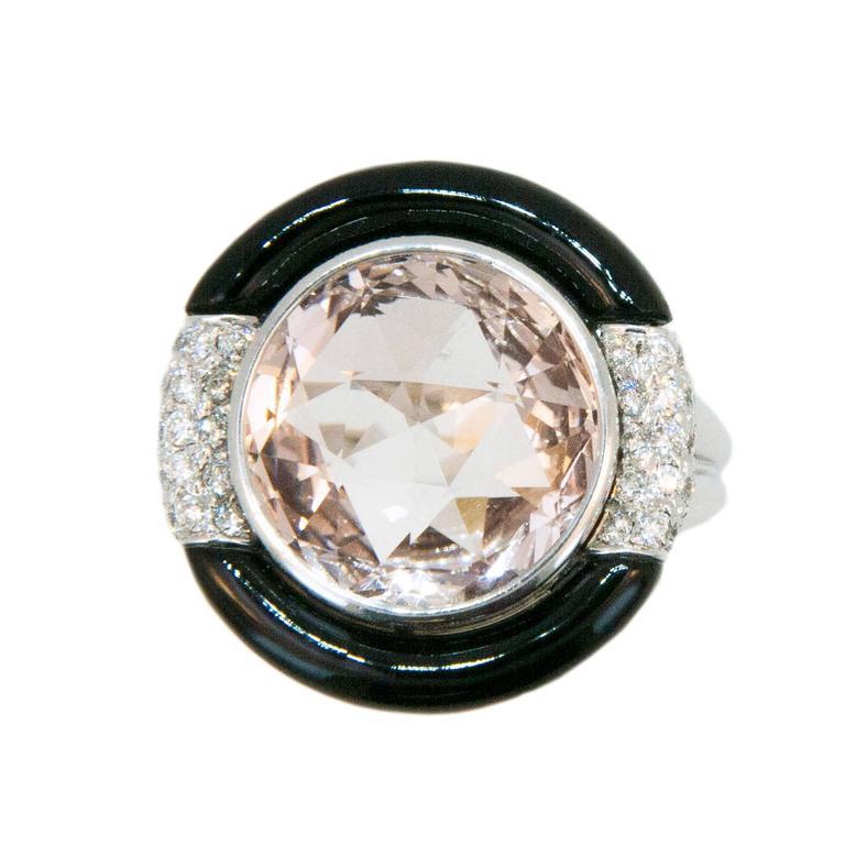 Laura Munder Morganite Black Jade Diamond White Gold Ring