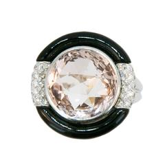 Laura Munder Morganite Black Jade Diamond White Gold Ring