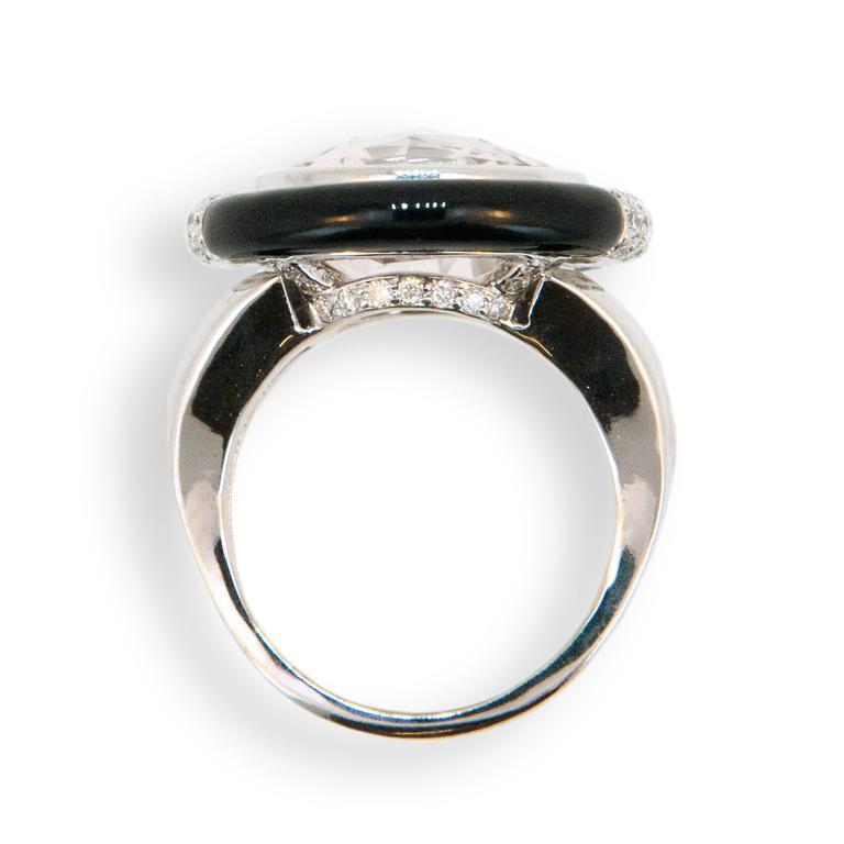 Laura Munder Morganite Black Jade Diamond White Gold Ring 2