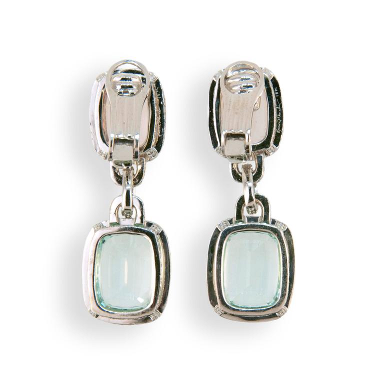 18 karat white gold drop earrings Mint Green Tourmaline,  Morganite and diamond earrings. Tourmaline (2) 19.46 carats Morganite (2) 10.29 carats  562 Diamonds 3.57 carats total weight. Earrings have fold down posts, may be worn as pierced or as clip