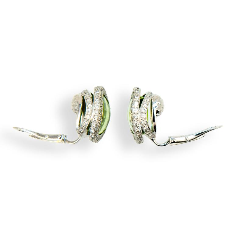 Laura Munder Peridot Diamond White Gold Earrings In New Condition For Sale In West Palm Beach, FL