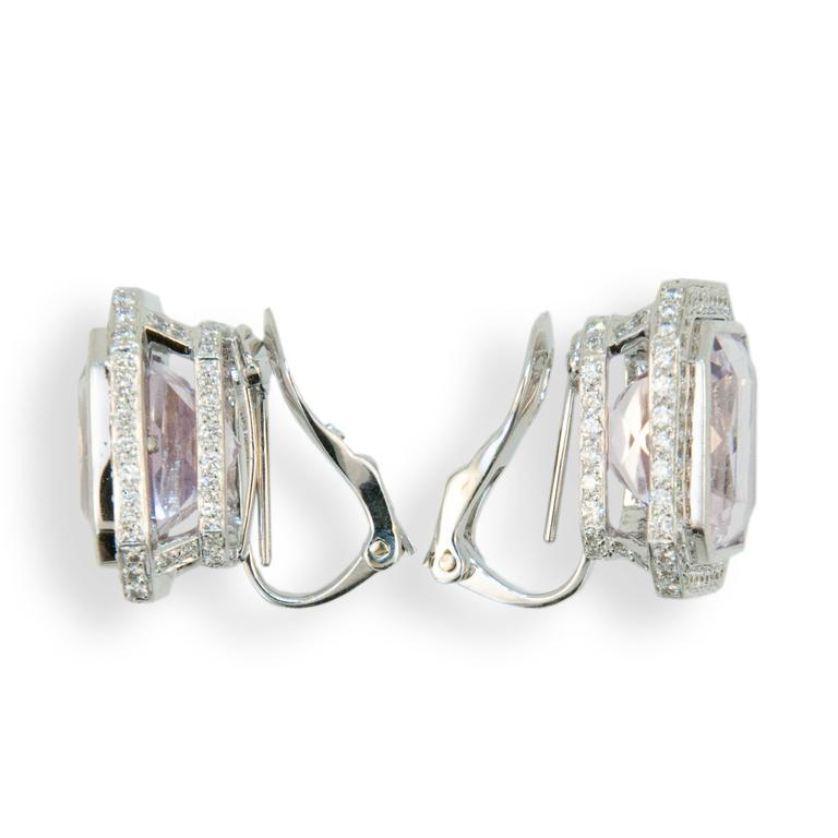 Women's Laura Munder Kunzite Diamond White Gold Earrings For Sale