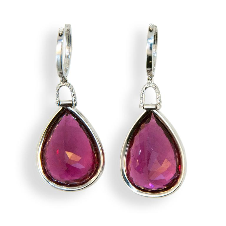 Laura Munder Rubellite Tourmaline Diamond White Gold Drop Earrings In New Condition For Sale In West Palm Beach, FL