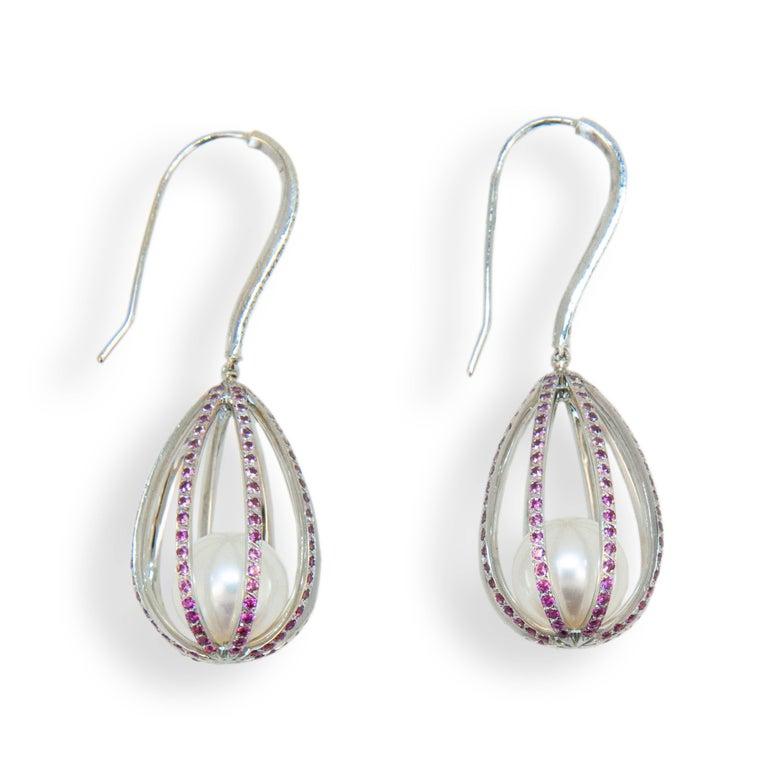 Laura Munder Pearl Pink Sapphire Diamond White Gold Dangle Earrings 2