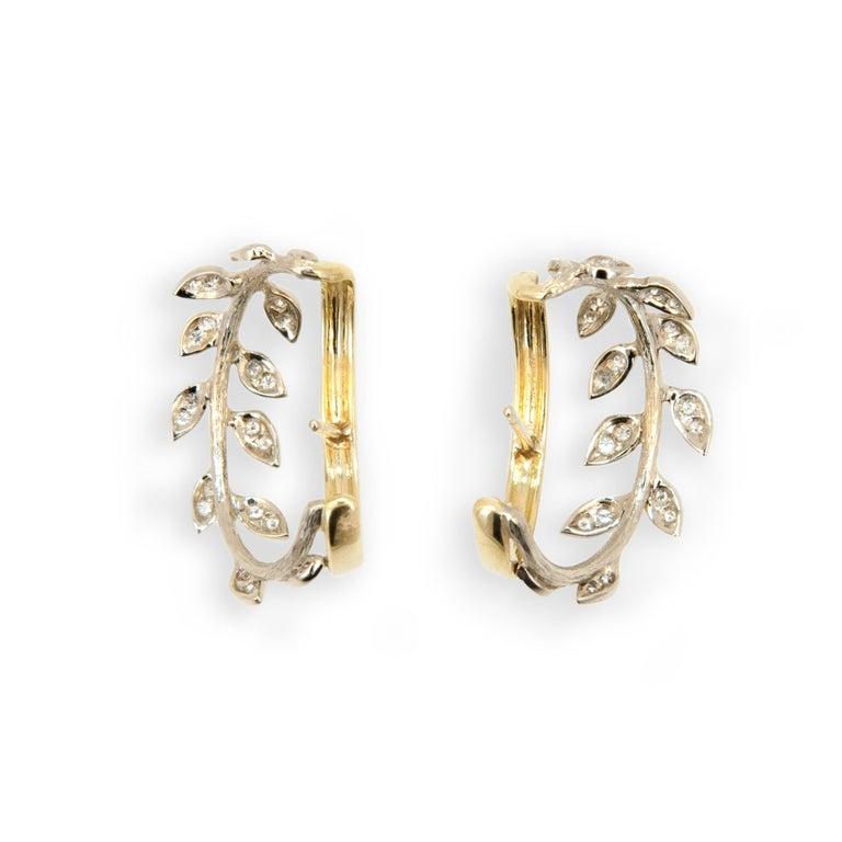 Laura Munder Diamond White Gold Yellow Gold Hoop Earrings In New Condition For Sale In West Palm Beach, FL