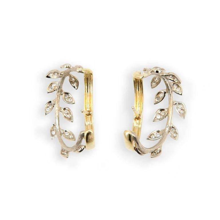 Laura Munder Diamond White Gold Yellow Gold Hoop Earrings 3