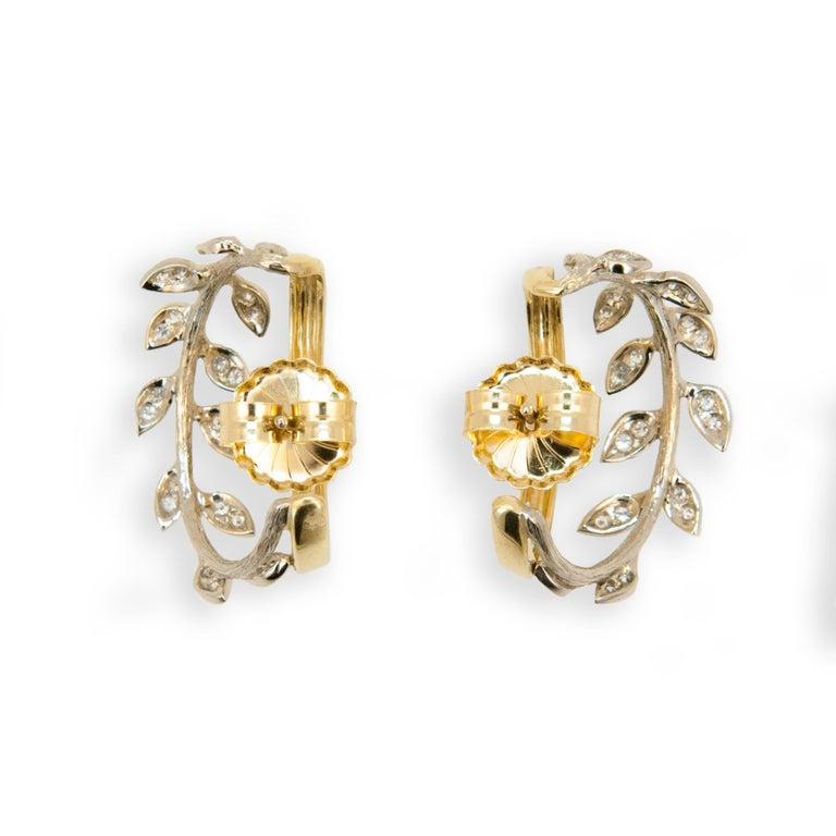 Women's Laura Munder Diamond White Gold Yellow Gold Hoop Earrings For Sale