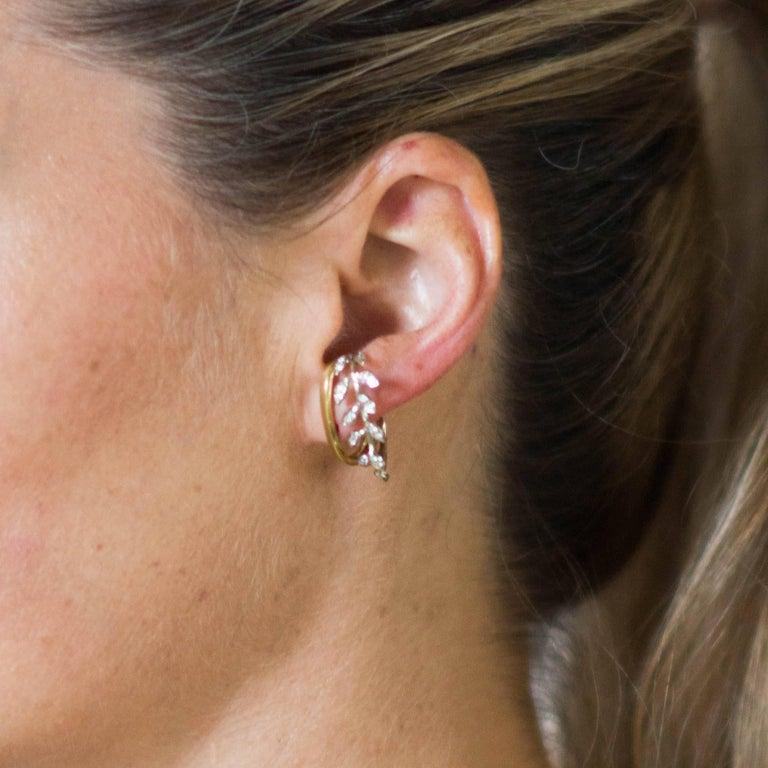 Laura Munder Diamond White Gold Yellow Gold Hoop Earrings For Sale 1