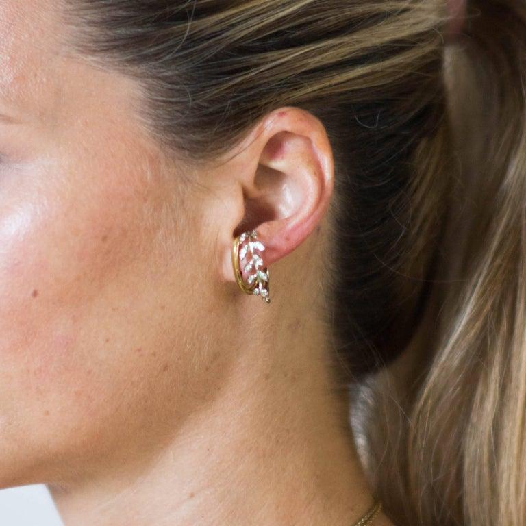 Laura Munder Diamond White Gold Yellow Gold Hoop Earrings For Sale 2