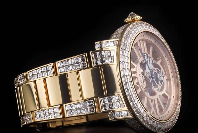Cartier Rose Gold Unique Diamond Set Tourbillon Skeleton Wristwatch For Sale 2