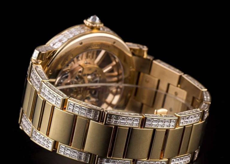 Cartier Rose Gold Unique Diamond Set Tourbillon Skeleton Wristwatch For Sale 3