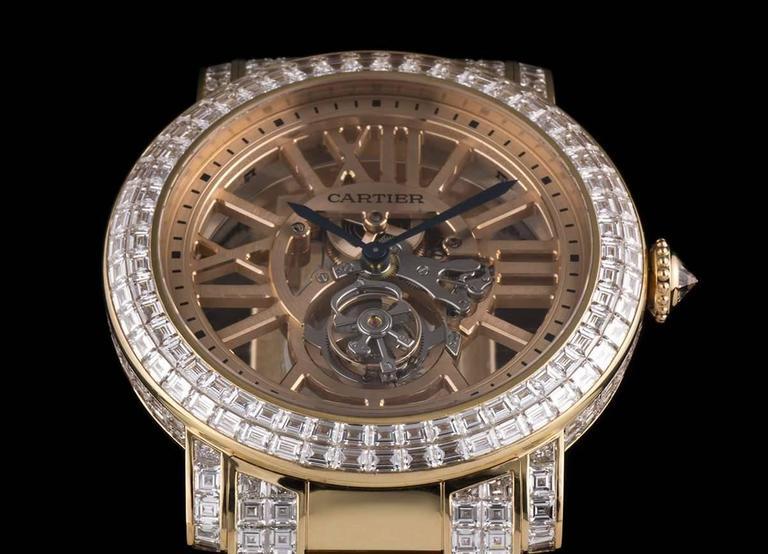 Men's Cartier Rose Gold Unique Diamond Set Tourbillon Skeleton Wristwatch For Sale