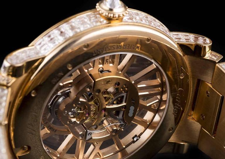 Cartier Rose Gold Unique Diamond Set Tourbillon Skeleton Wristwatch For Sale 4