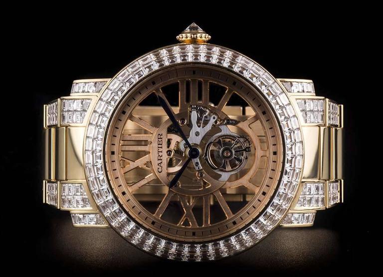 Cartier Rose Gold Unique Diamond Set Tourbillon Skeleton Wristwatch For Sale 1