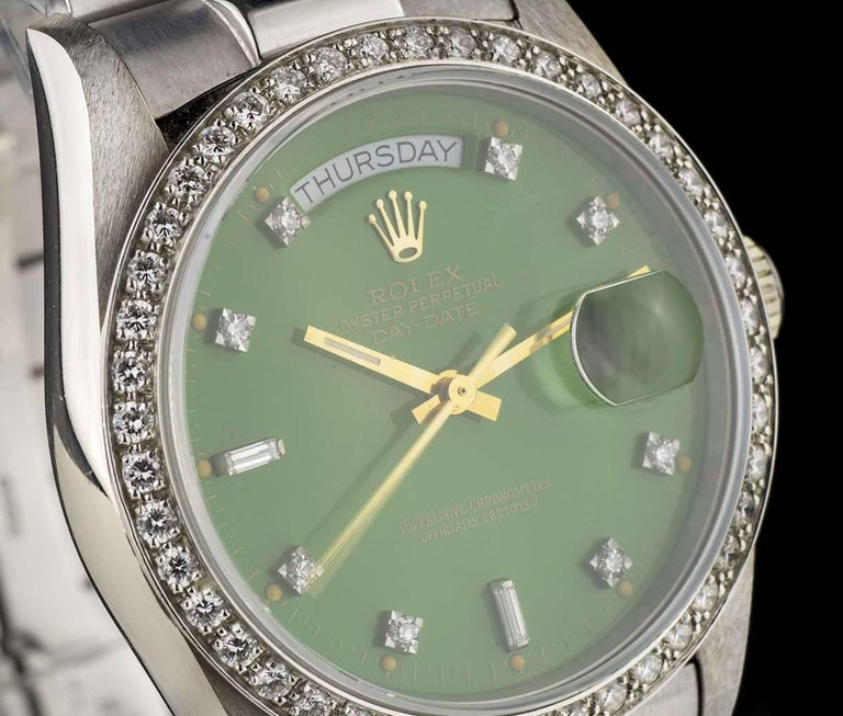 Rolex White Gold Green Stella Dial Day Date Omani Crest Automatic Wristwatch In Excellent Condition For Sale In London, GB