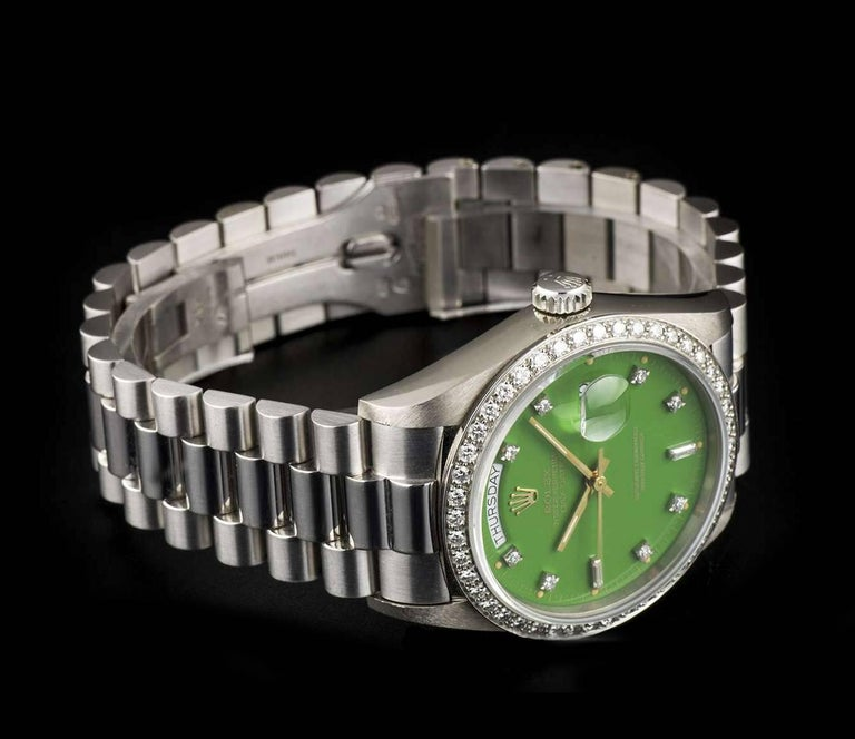 Rolex White Gold Green Stella Dial Day Date Omani Crest Automatic Wristwatch For Sale 1
