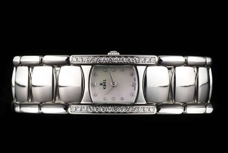 Women's Ebel Ladies Stainless Steel Diamond Mother-of-Pearl Beluga Manchette Wristwatch For Sale