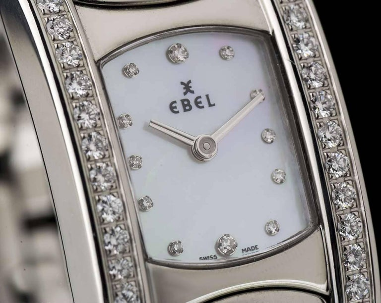 Ebel Ladies Stainless Steel Diamond Mother-of-Pearl Beluga Manchette Wristwatch In Excellent Condition For Sale In London, GB