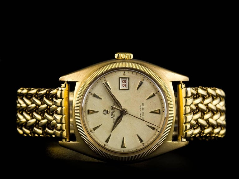 Women's or Men's Rolex Yellow Gold Vintage Semi Bubble Back Oyster Perpetual Manual Wristwatch For Sale