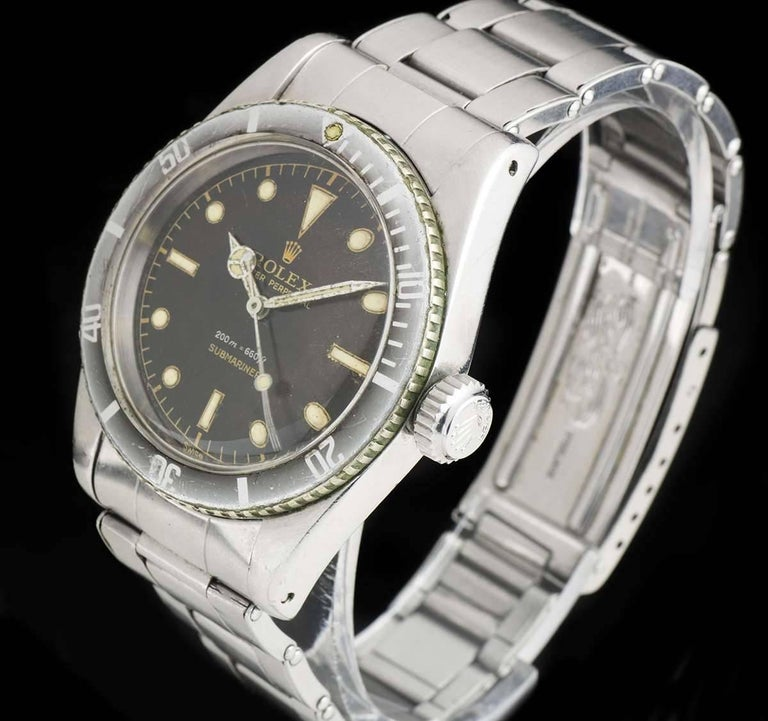 Vintage Rolex Stainless Steel Submariner James Bond Big Crown Automatic Watch In Excellent Condition For Sale In London, GB