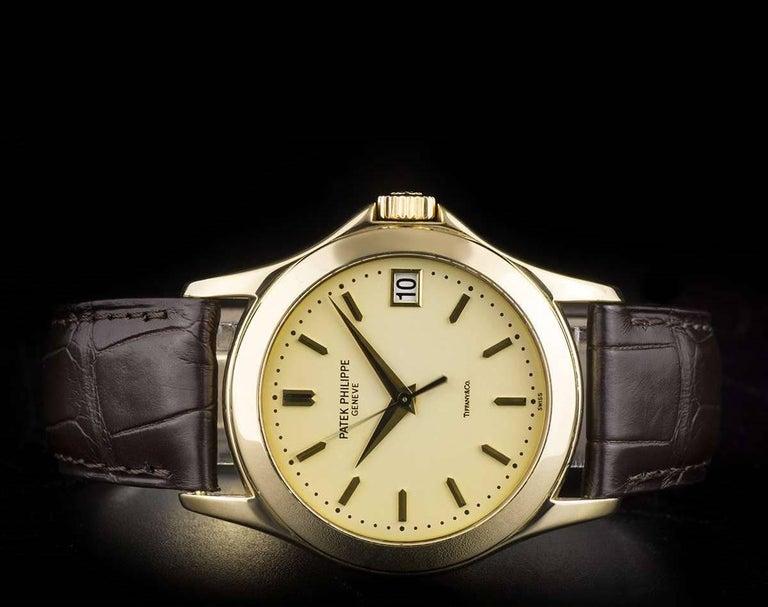 Men's Patek Philippe Tiffany & Co Calatrava Opaline Dial Automatic Wristwatch  For Sale