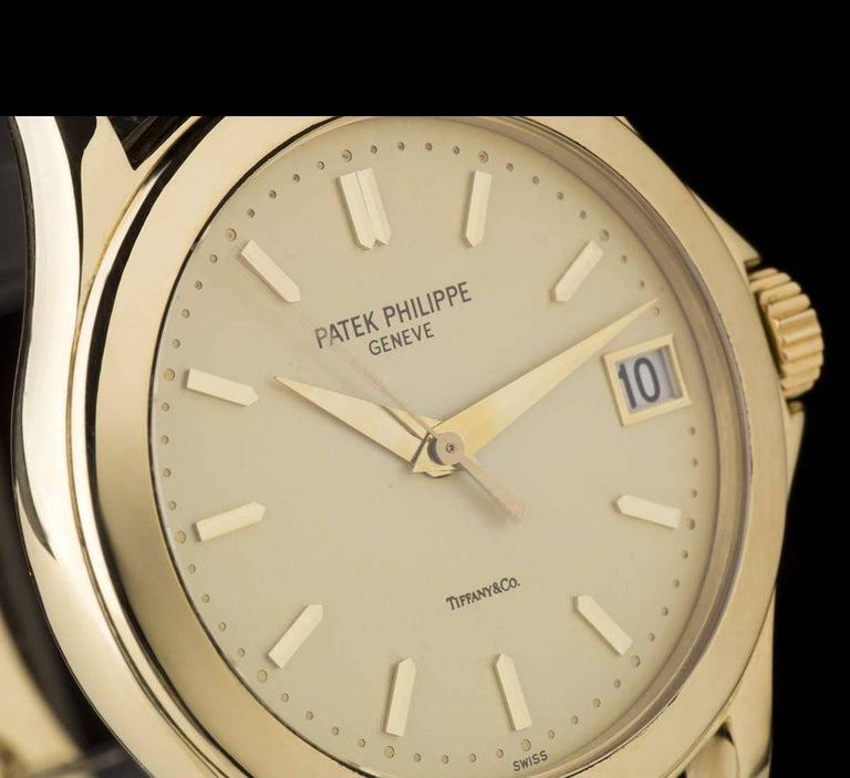 Patek Philippe Tiffany & Co Calatrava Opaline Dial Automatic Wristwatch  In Excellent Condition For Sale In London, GB