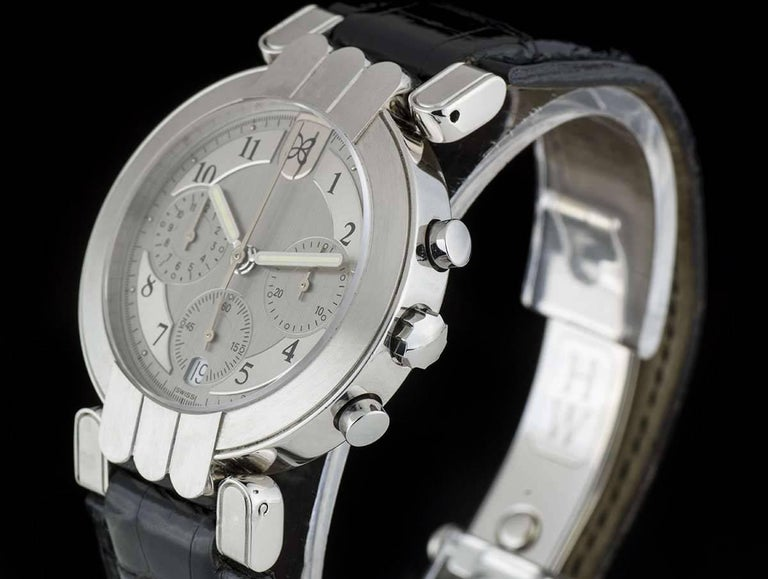 A Platinum Premier Chronograph Gents Wristwatch, silver dial with arabic numbers, 30 minute recorder at 3 0'clock, date and small seconds at 6 0'clock, 12 hour recorder at 9 0'clock, a platinum fixed brushed bezel, a brand new original black leather