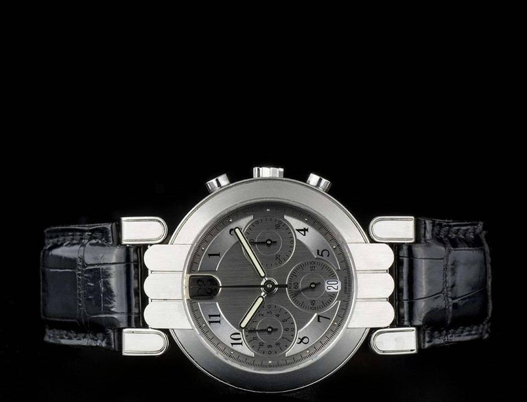 Harry Winston Platinum Silver Dial Premier Chronograph Gent Automatic Wristwatch In Excellent Condition For Sale In London, GB