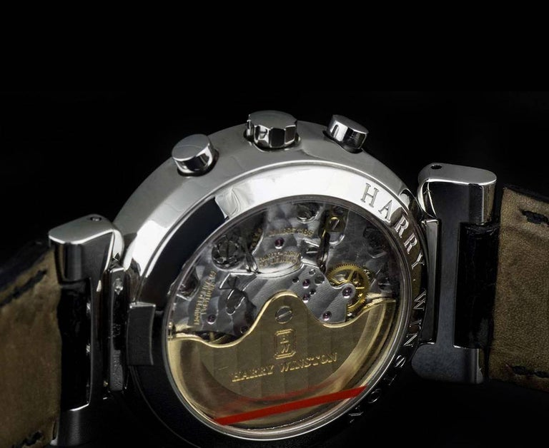 Harry Winston Platinum Silver Dial Premier Chronograph Gent Automatic Wristwatch For Sale 2
