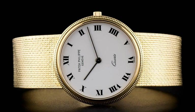 Men's Patek Philippe White Enamel Dial Gold Quartz  Calatrava Wristwatch For Sale