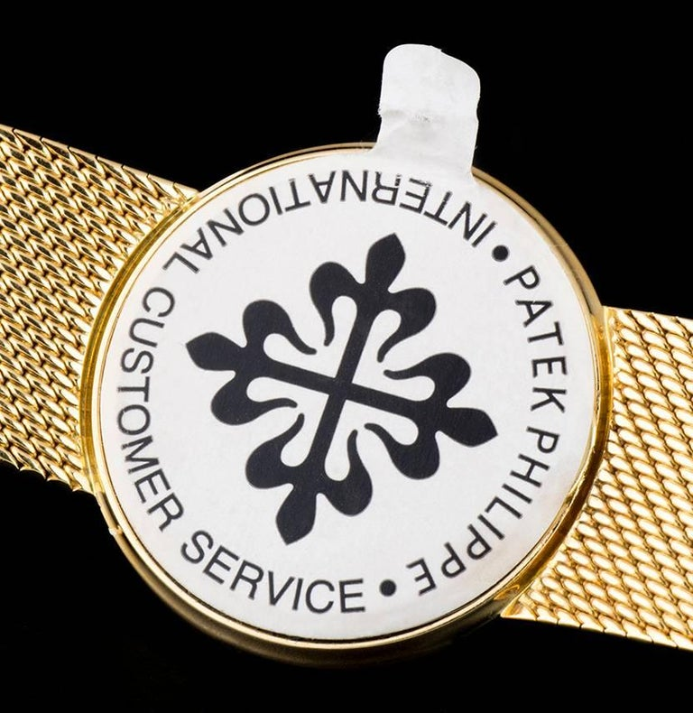Patek Philippe White Enamel Dial Gold Quartz  Calatrava Wristwatch For Sale 3