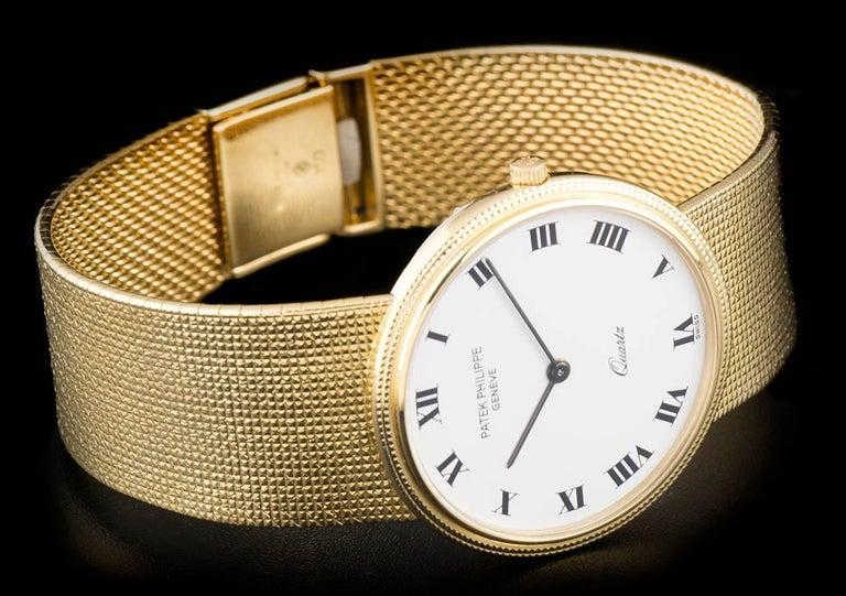 Patek Philippe White Enamel Dial Gold Quartz  Calatrava Wristwatch For Sale 1