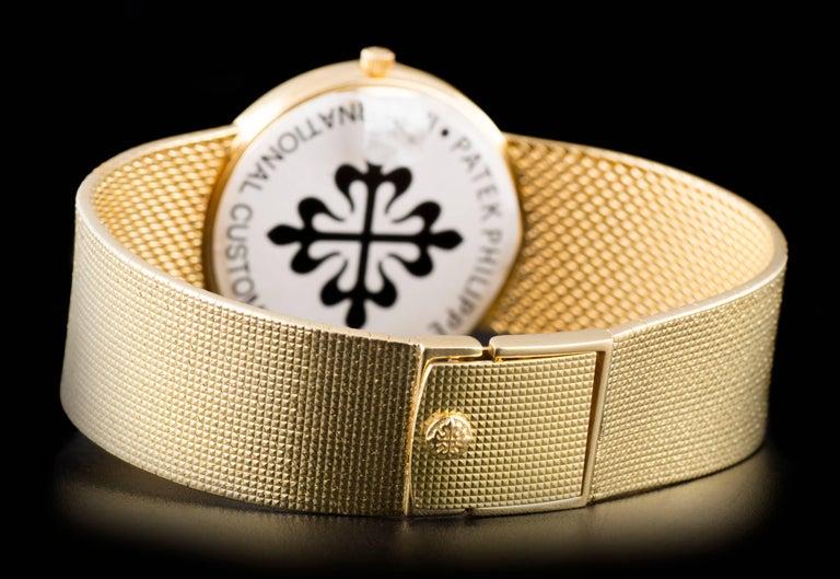 Patek Philippe White Enamel Dial Gold Quartz  Calatrava Wristwatch For Sale 2