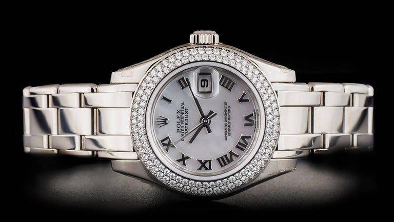 Women's Rolex Unworn Pearlmaster Datejust White Gold MOP Dial 80339 Automatic Watch For Sale