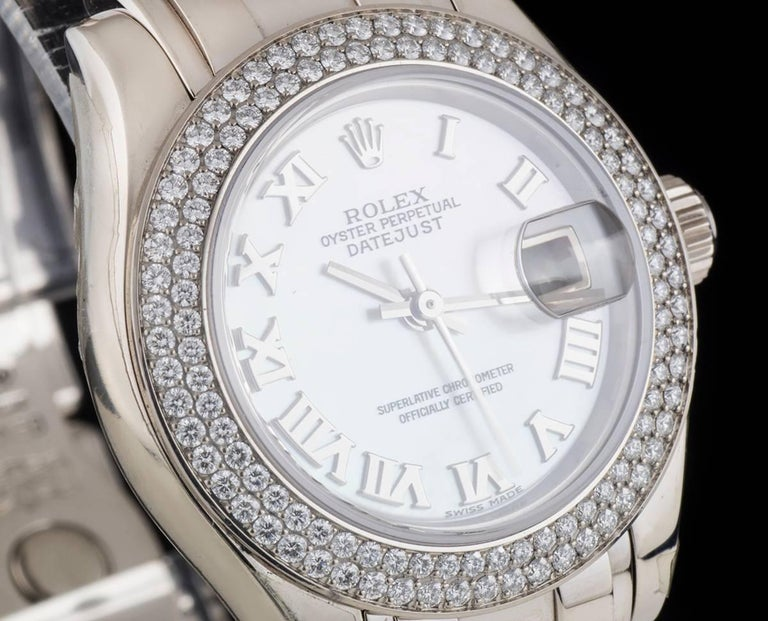 Rolex Unworn Pearlmaster Datejust White Gold MOP Dial 80339 Automatic Watch In New Condition For Sale In London, GB
