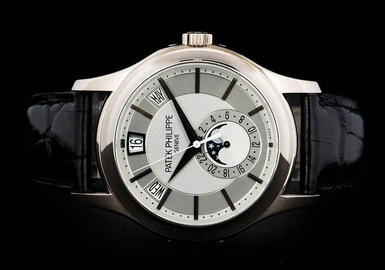 Men's Patek Philippe White Gold Annual Calendar Rhodium Dial Automatic Wristwatch For Sale