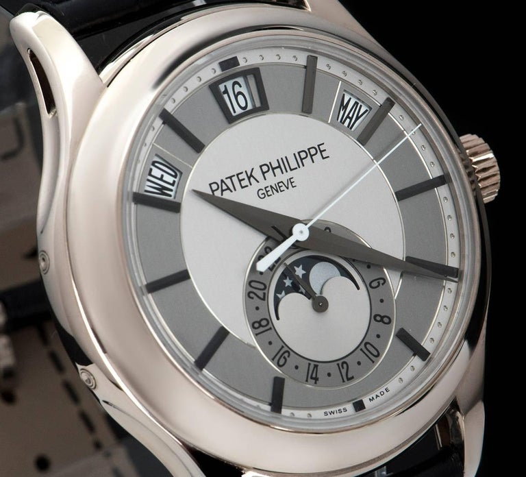 Patek Philippe White Gold Annual Calendar Rhodium Dial Automatic Wristwatch In Excellent Condition For Sale In London, GB