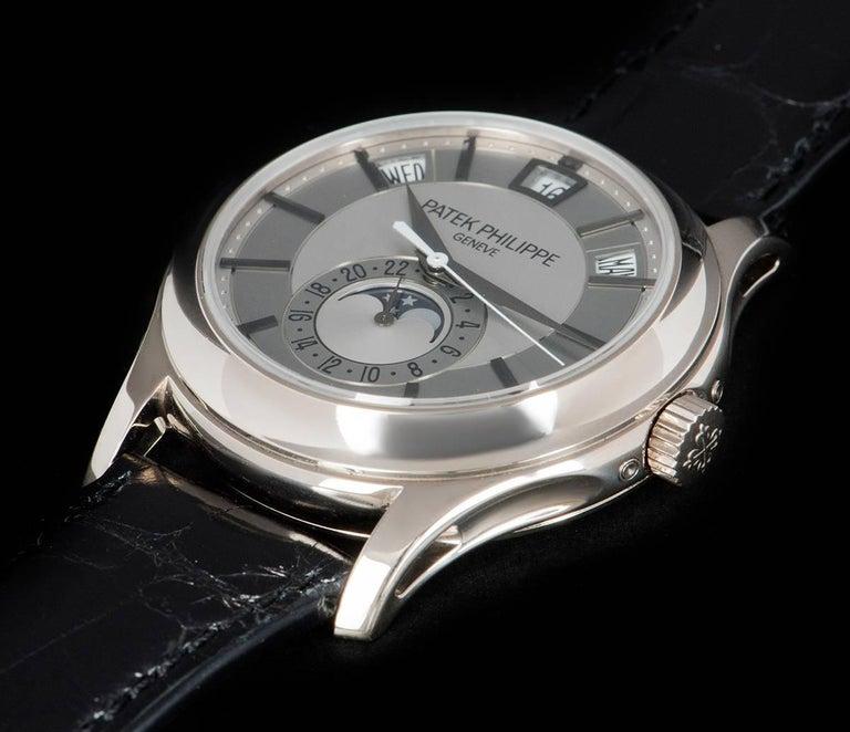 Patek Philippe White Gold Annual Calendar Rhodium Dial Automatic Wristwatch For Sale 1