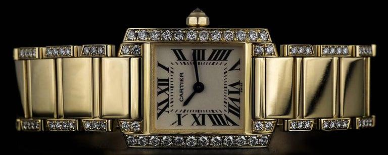 Women's Cartier LadiesYellow Gold Diamond Tank FrancaiseRoman Dial Quartz Wristwatch For Sale