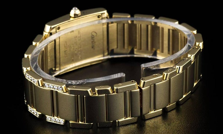 Cartier LadiesYellow Gold Diamond Tank FrancaiseRoman Dial Quartz Wristwatch For Sale 3