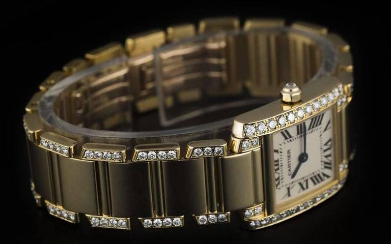 Cartier LadiesYellow Gold Diamond Tank FrancaiseRoman Dial Quartz Wristwatch For Sale 1