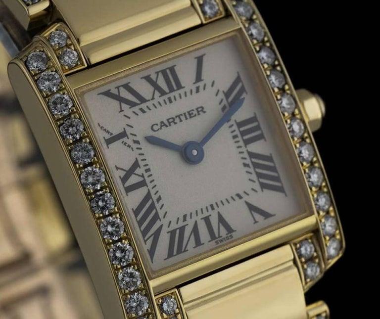 Cartier LadiesYellow Gold Diamond Tank FrancaiseRoman Dial Quartz Wristwatch In Excellent Condition For Sale In London, GB