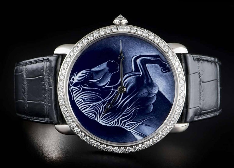 Men's Cartier White Gold Ronde Louise XL Year Of The Horse Manual Wristwatch For Sale
