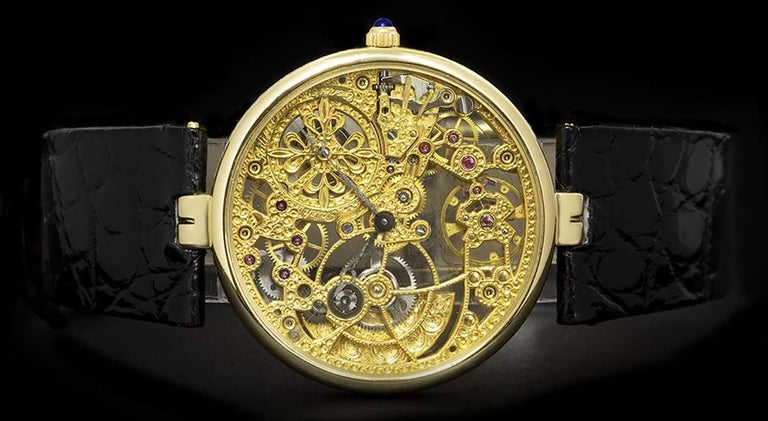 Men's Patek Philippe Very Rare Gold Skeleton Dial 3878J Automatic Watch For Sale