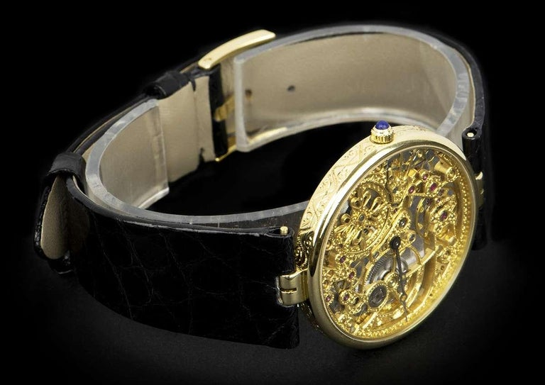 Patek Philippe Very Rare Gold Skeleton Dial 3878J Automatic Watch For Sale 1