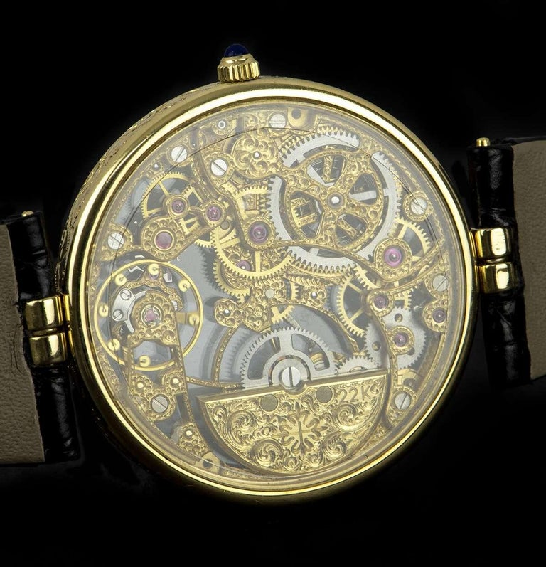 Patek Philippe Very Rare Gold Skeleton Dial 3878J Automatic Watch For Sale 2