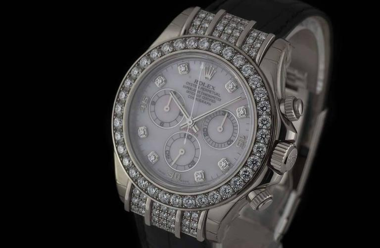 Rolex Gold Diamond Daytona Chronograph Automatic Wristwatch In New Condition For Sale In London, GB