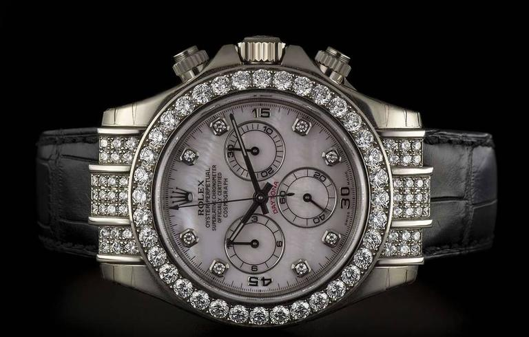 Rolex Gold Diamond Daytona Chronograph Automatic Wristwatch For Sale 3
